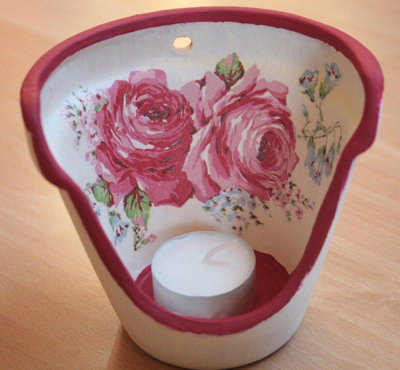 romantisches Windlicht Rose shabby chic