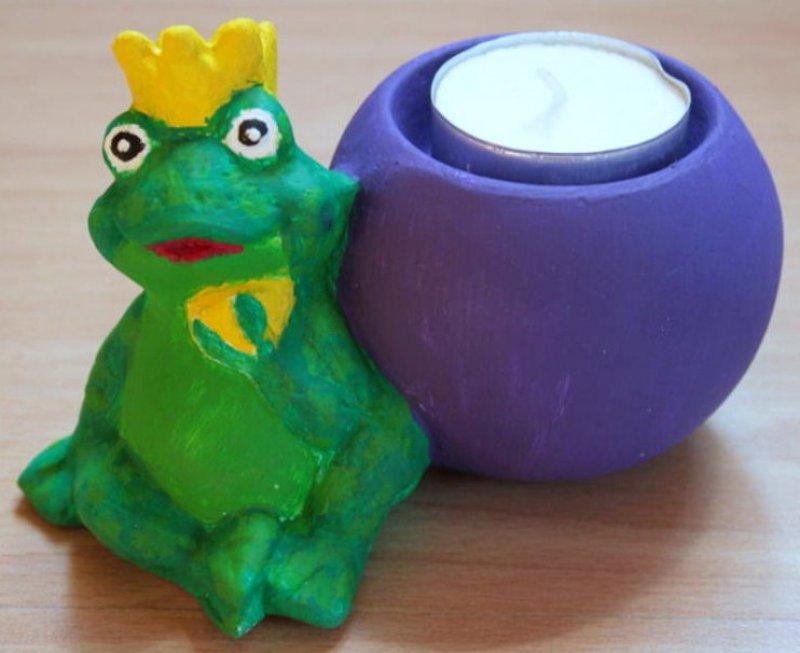 lustiger Teelichthalter Frosch mit Krone
