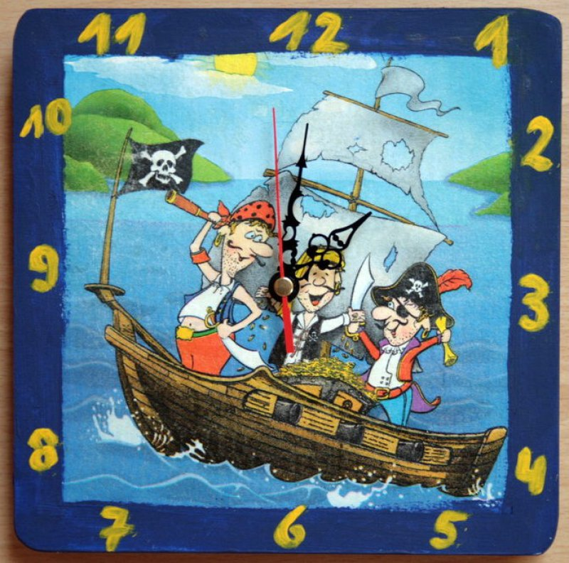 cool children wall clock pirates on sea