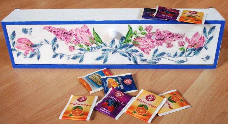 romantische Teebeutelbox Frühling Blumen
