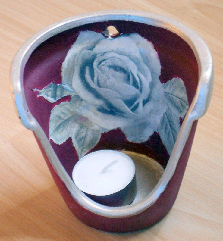 romantisches und elegantes Windlicht silberne Rose