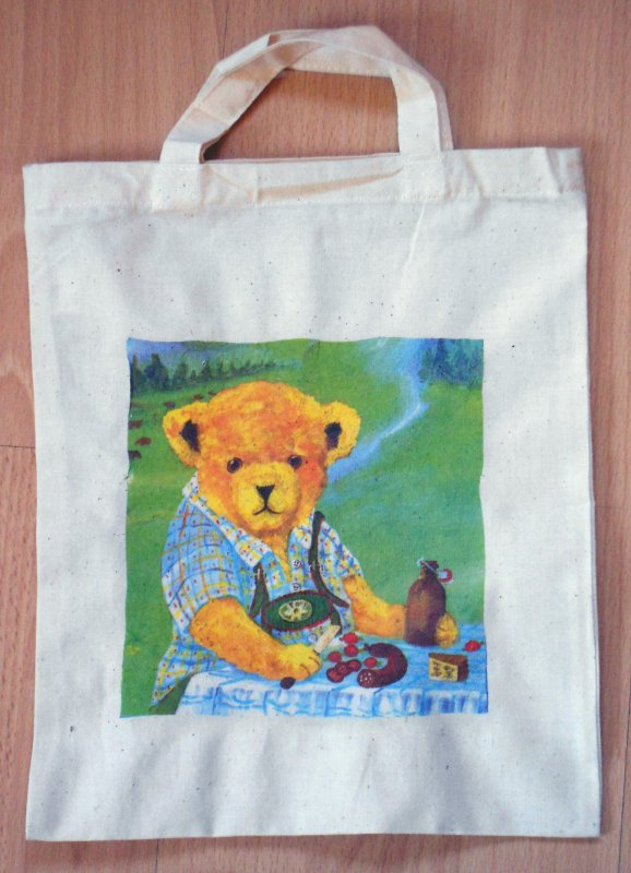 lustige Baumwolltasche Bär beim Picknik