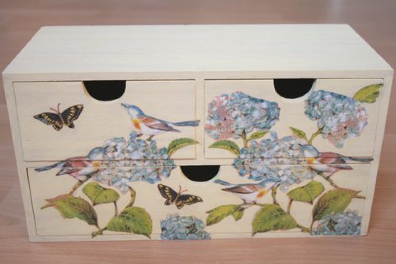 dekoratives Schubladenschränkchen Vögel und Hortensien