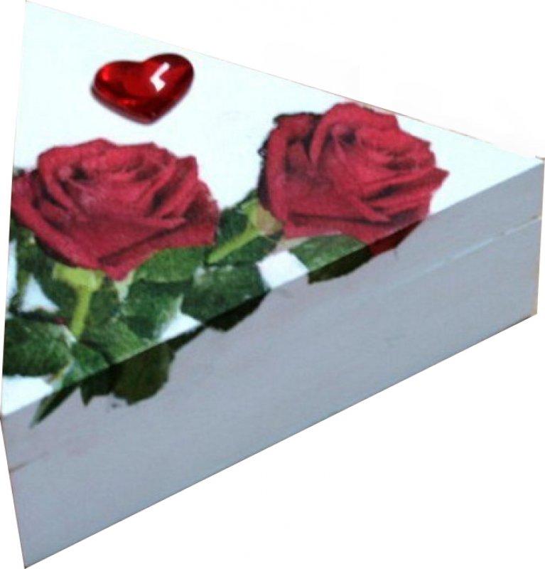 romantische Dreieck Holzdose Rosen mit Herz