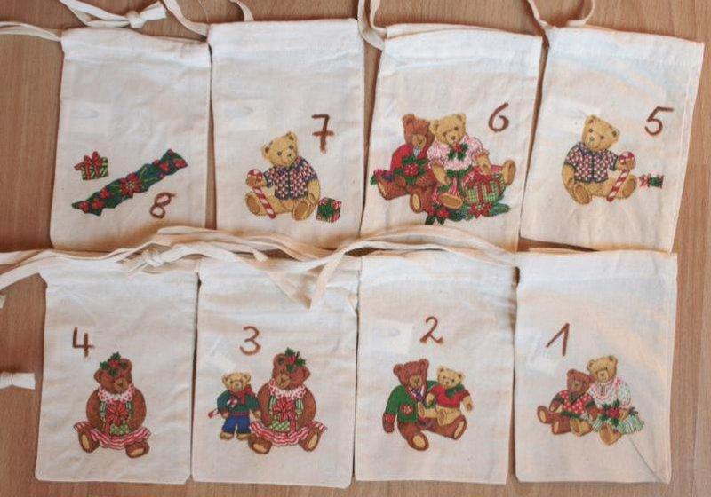 Adventskalender Säckchen niedliche Bären