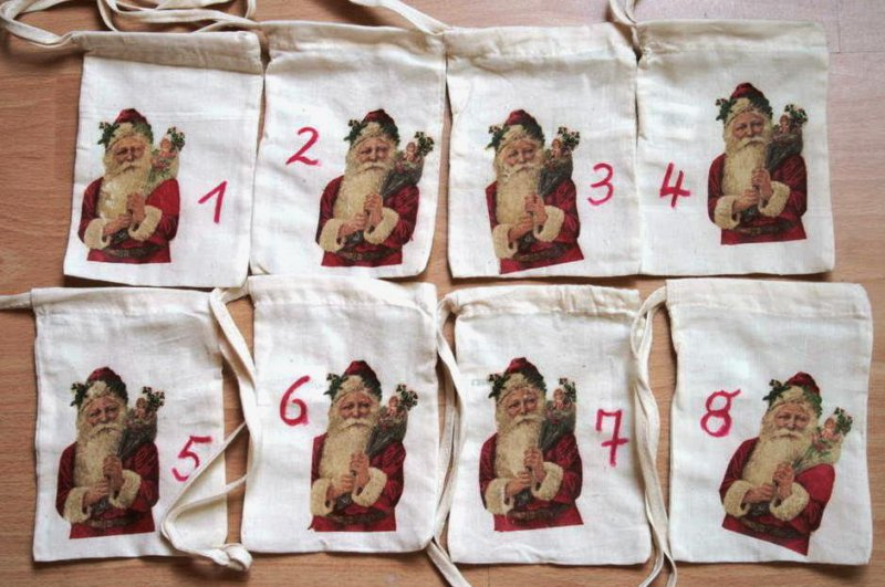 Adventskalender Säckchen Weihnachtsmann bzw. Nikolaus