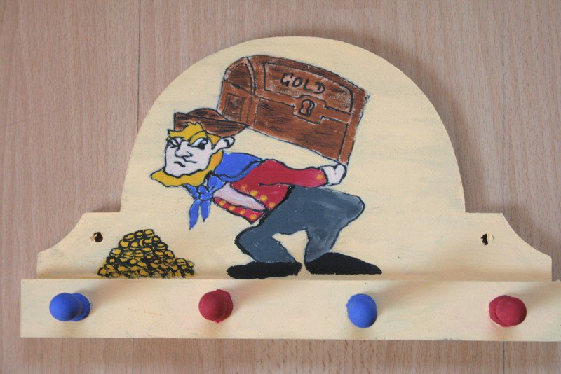 handpainted towel holder little pirate