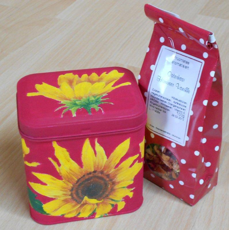 wunderschön farbenfrohe Teedose Sonnenblumen