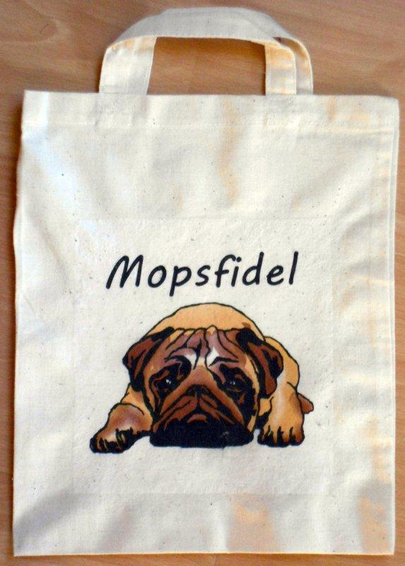 cute and funny cotton bag pug dog
