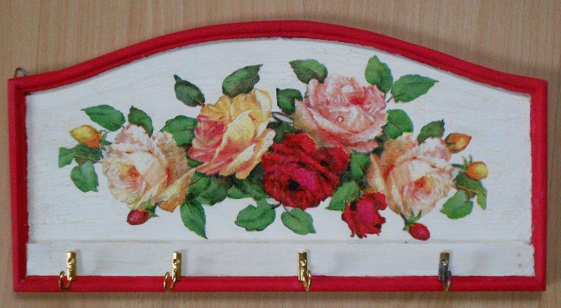 romantisches Schlüsselbrett Rosen - ein Rosentraum