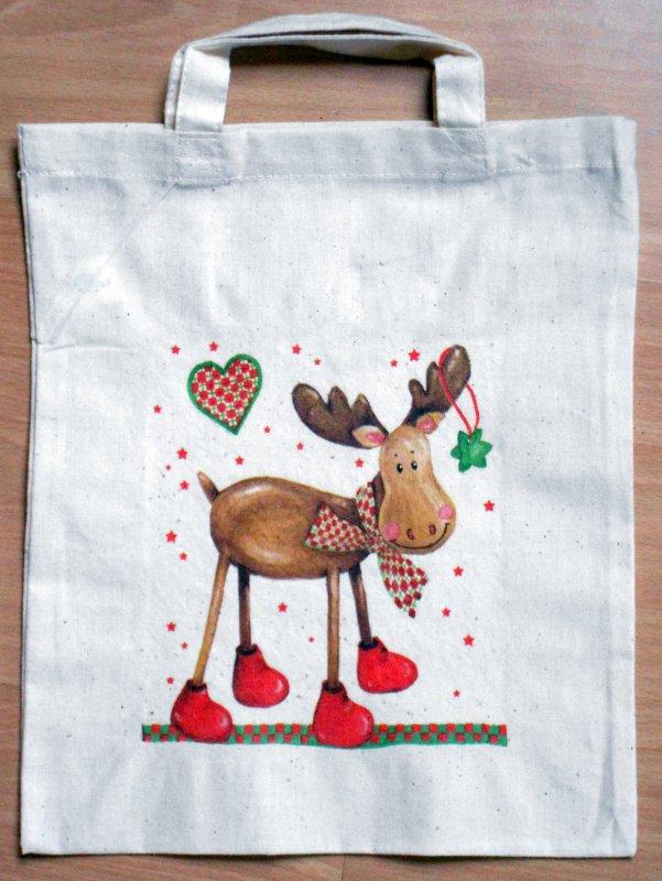 nice little cotton bag christmas moose