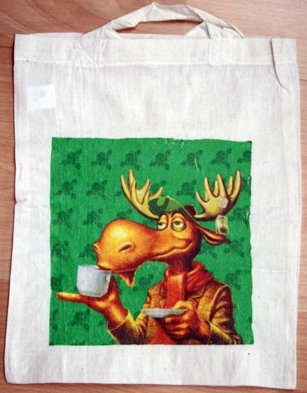 funny cotton bag tea drinking moose
