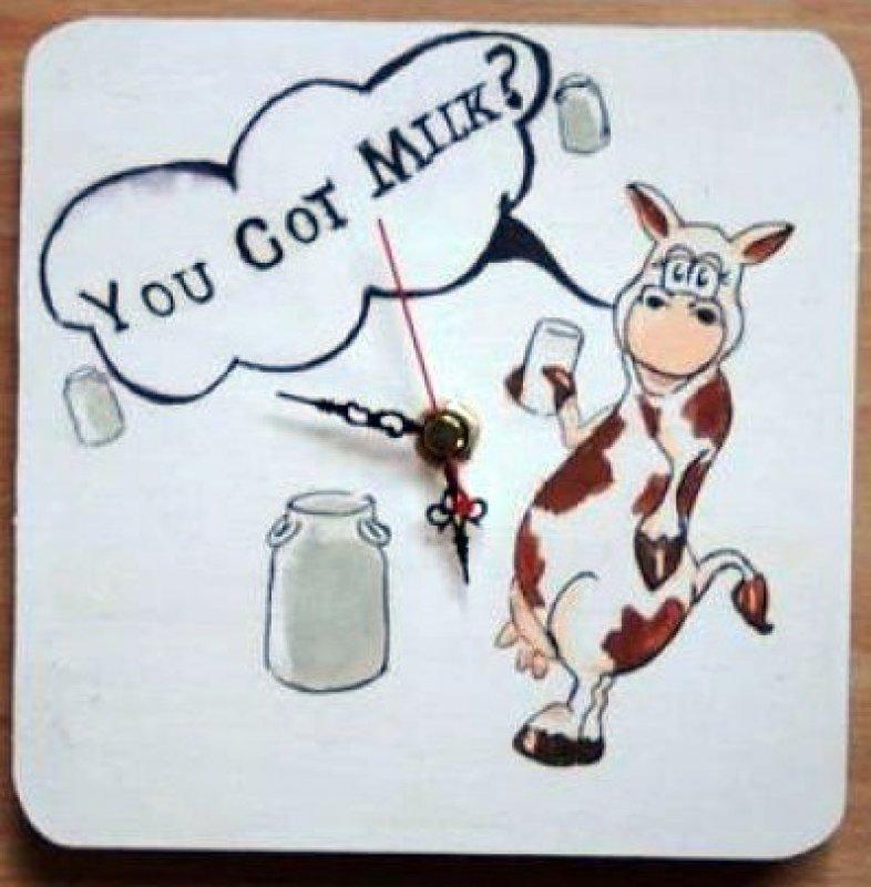 lustige Küchen Wanduhr Kuh