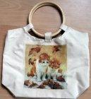 herziger Shopper mit Bambusgriff Herbst Katzen