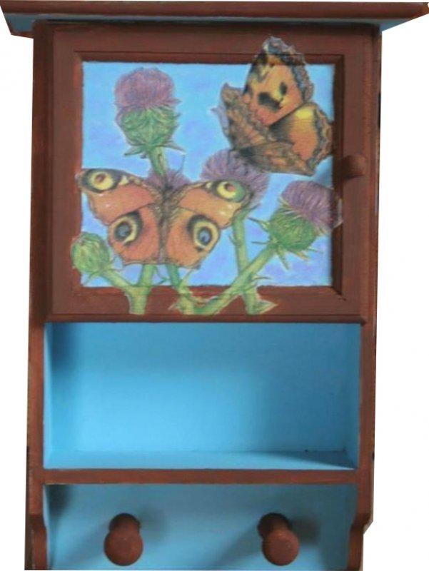 dekoratives Hängeschränkchen Schmetterlinge auf Disteln