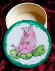 wunderschöne Geschenkdose Glücksschwein mit Kleeblatt