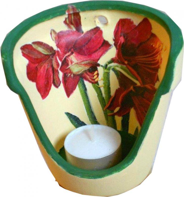 wunderschönes Blumen Windlicht Amaryllis
