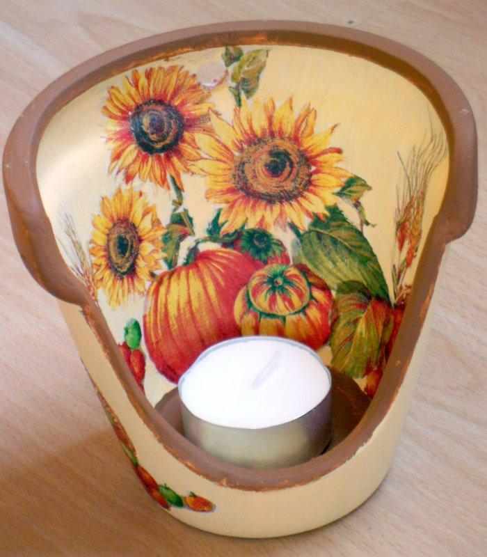 autumn tealight holder sunflowers and pumpkin