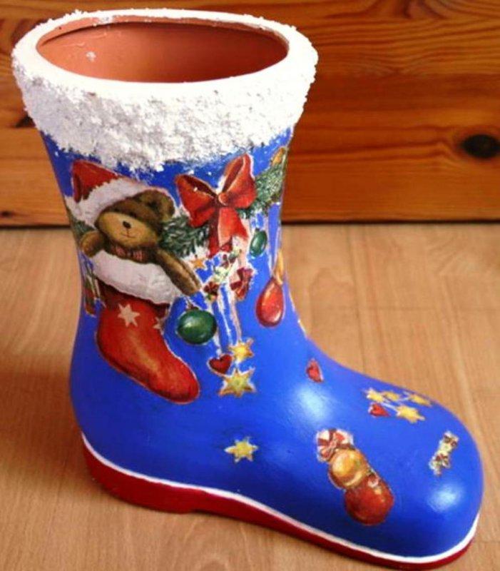 RES.F.Berit - Weihnachtsdeko, Nikolausstiefel mit Bärchen