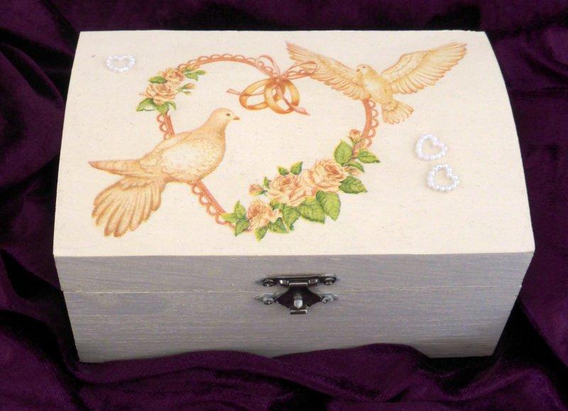 Schatulle - Ringschachtel Tauben mit Perlenherz