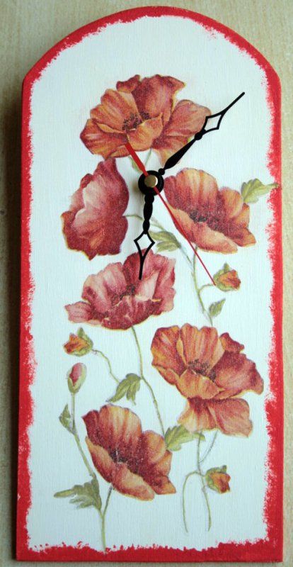 beautiful floral wallclock poppy