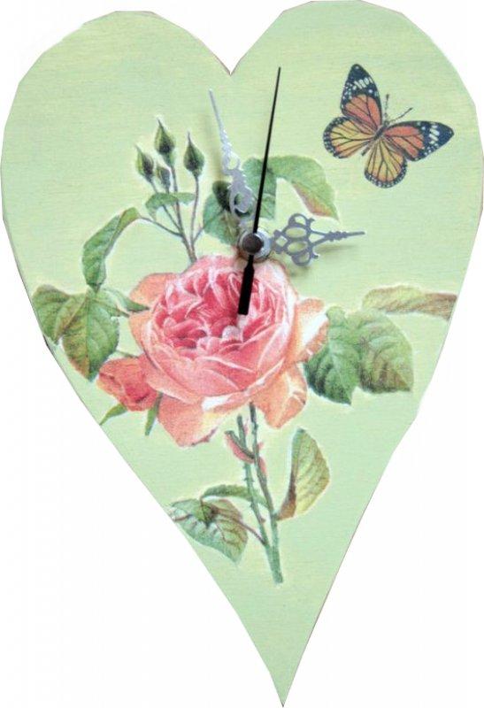 Herz Wanduhr - Rose mit Schmetterling