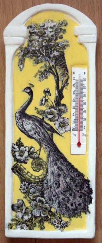 room thermometer elegant peacock
