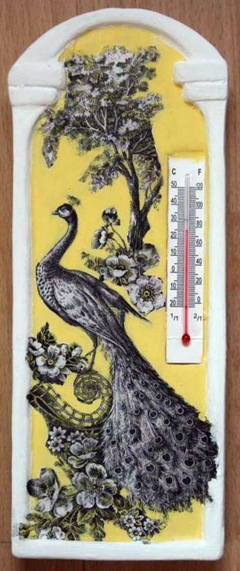 room thermometer elegant peacock