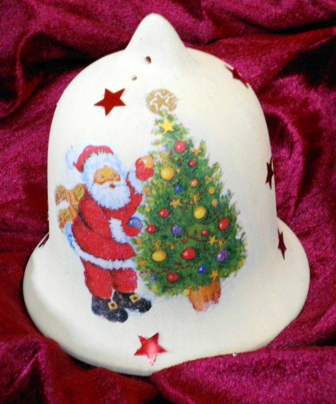 wunderschön weihnachtliche Terrakottaglocke Weihnachtsmann