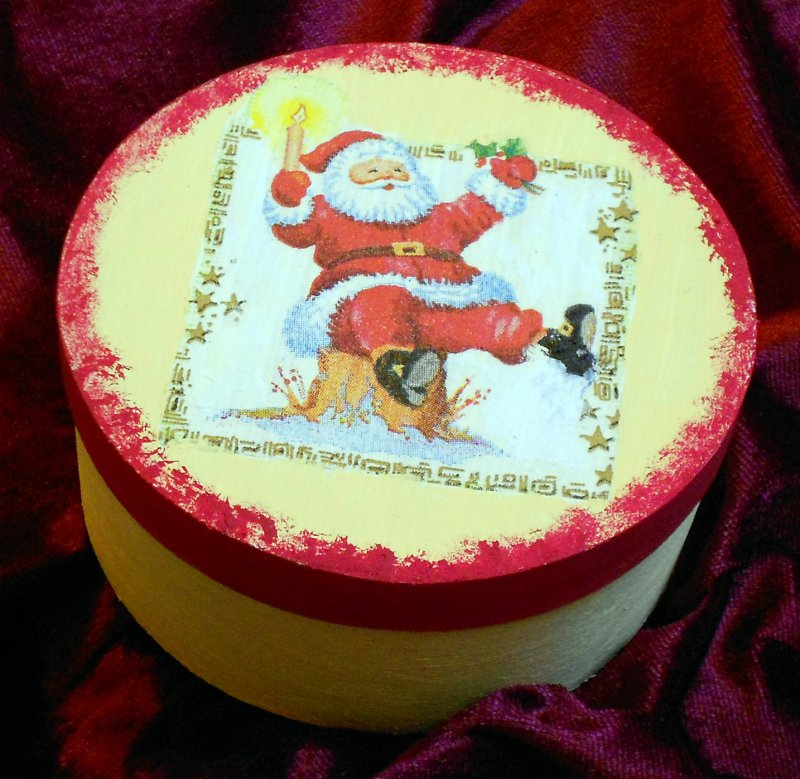 christmas gift box santa clause with candle