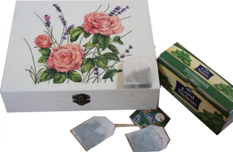 außergewöhnliche Teebeutelbox Rosen und Lavendel