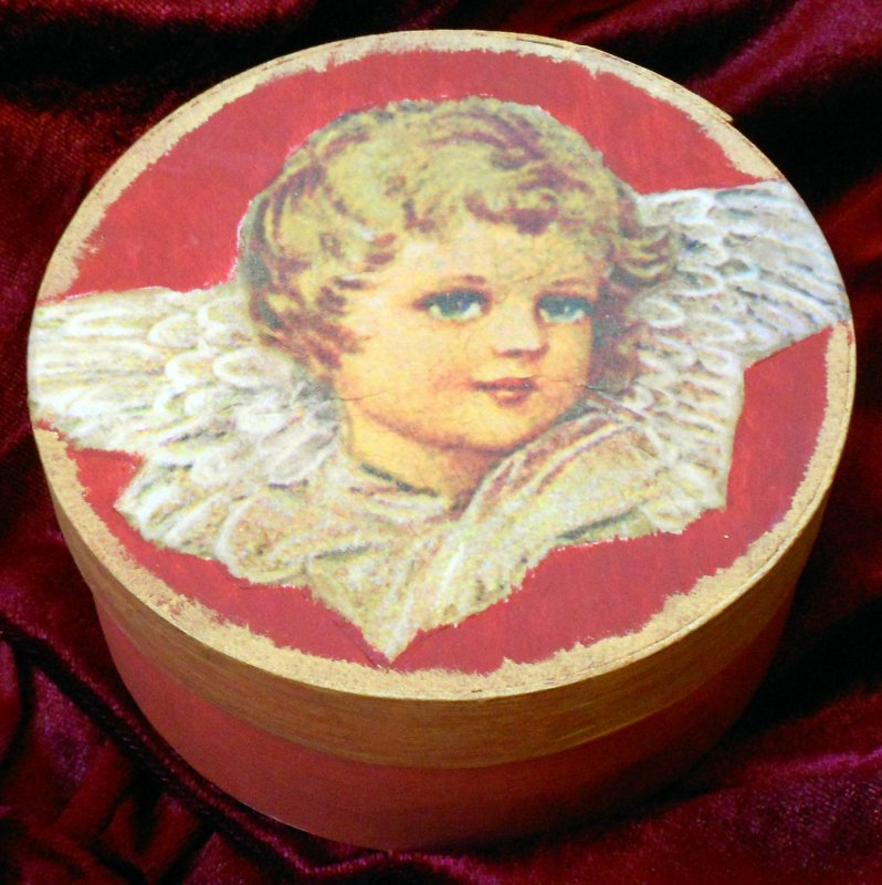 wooden gift box angel