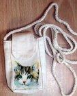 hübsche Baumwolle Handytasche Katze