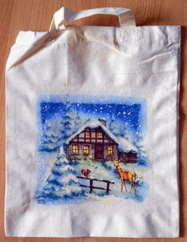 wunderschöne Tragtasche bzw. Baumwolltasche verschneites Haus mi