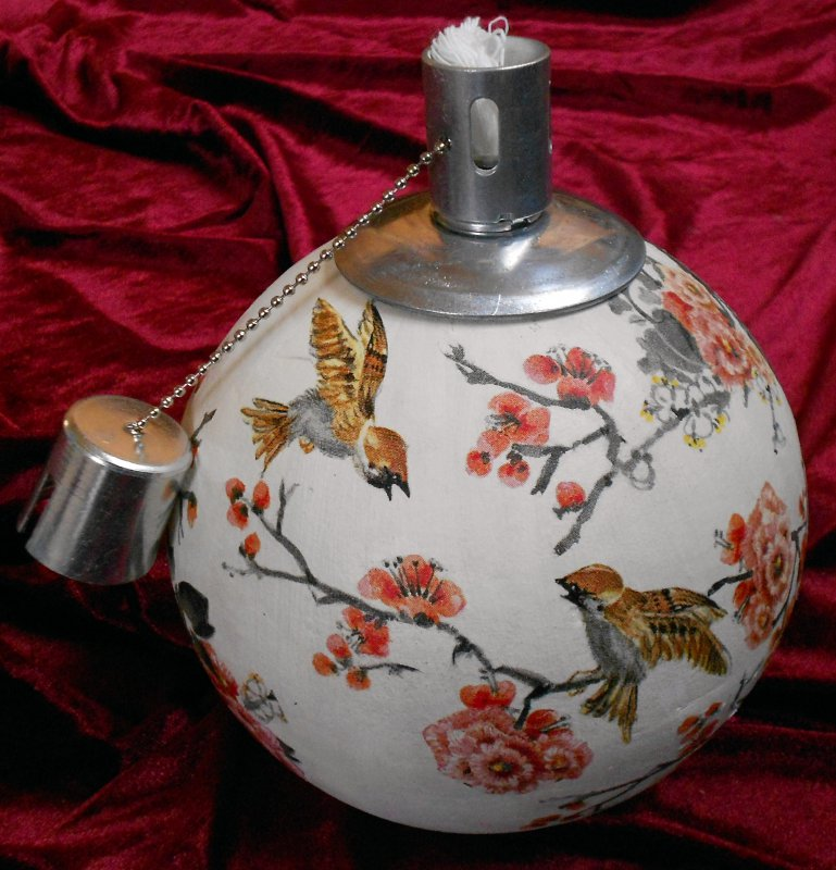 great oil lamp birds and flowers