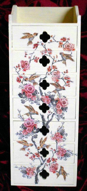 hübsches Schubladenschränkchen Vögel auf Blütenzweigen