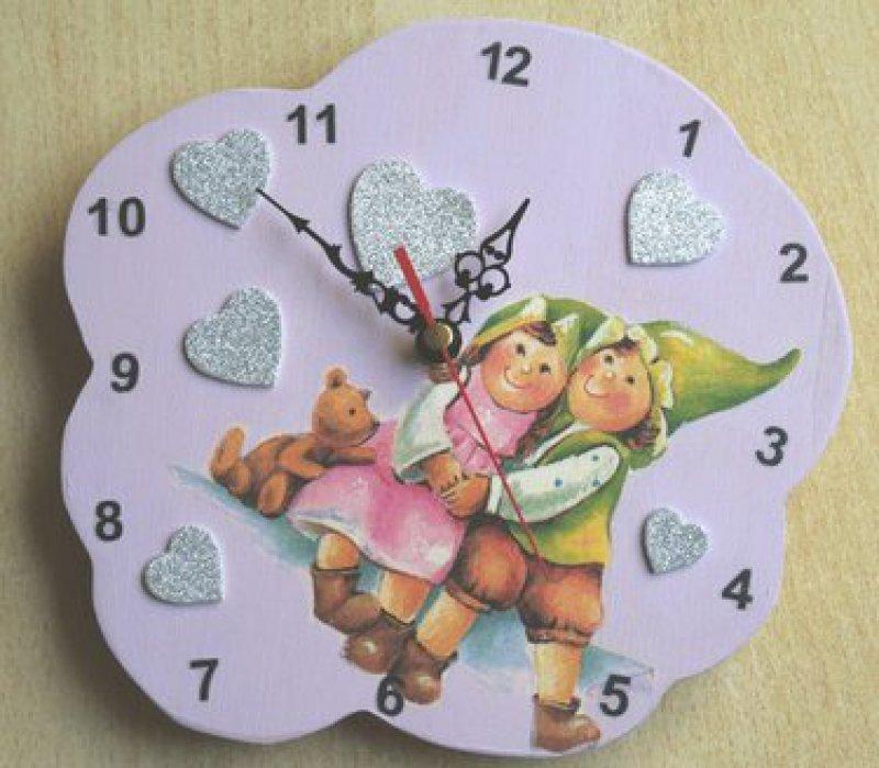 cute children wall clock elfes