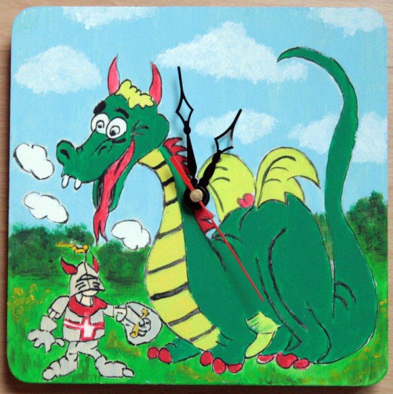 cute children wall clock dragon