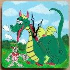 niedliche hangemalte Kinderuhr - Drache und Ritter
