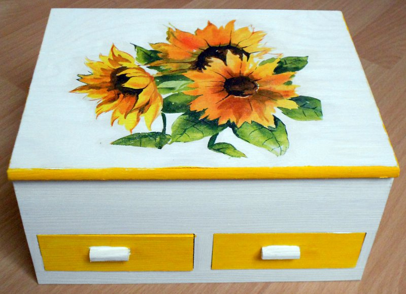 floral jewelery case sunflowers