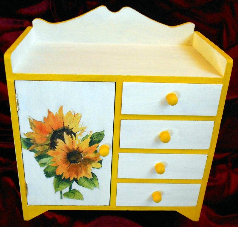 wonderful drawer cabinet sunflowers