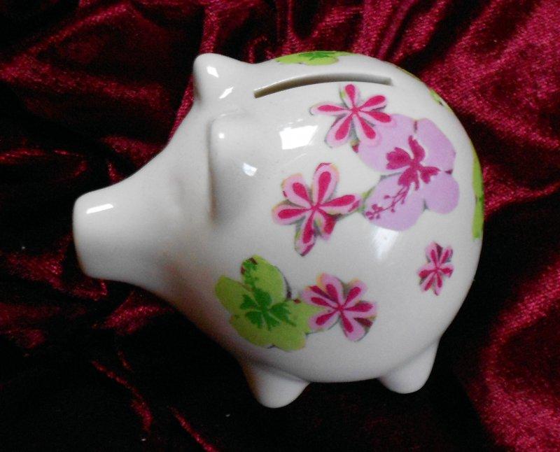 niedliches Porzellan Sparschwein Blumen und Schmetterlinge