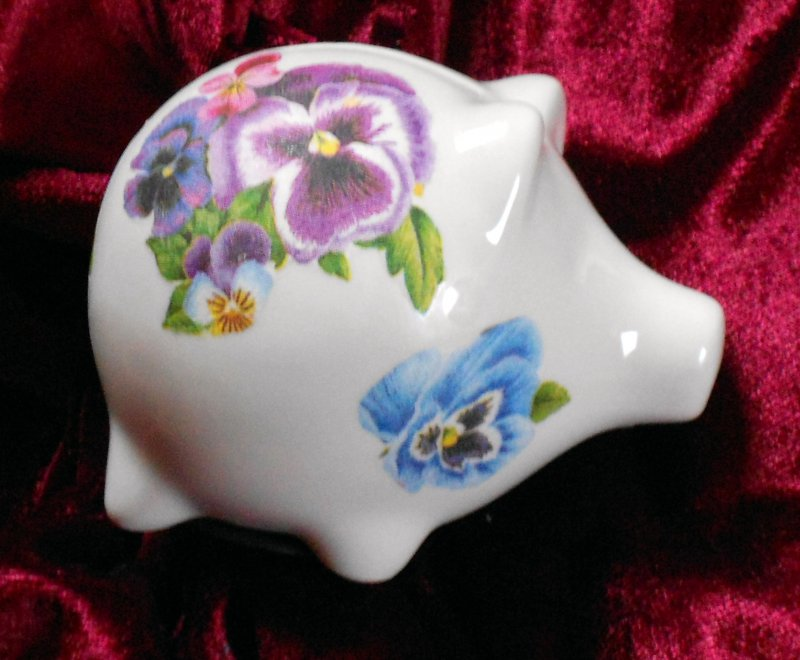 cute ceramic piggybank pansies