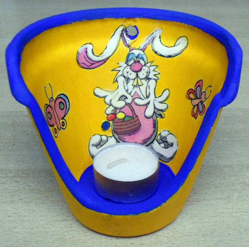 nice easter tealight holder tired rabbit