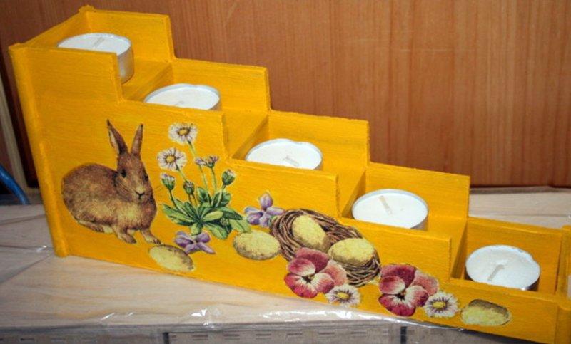 Ostern - Teelichthalter Hase mit Blumen
