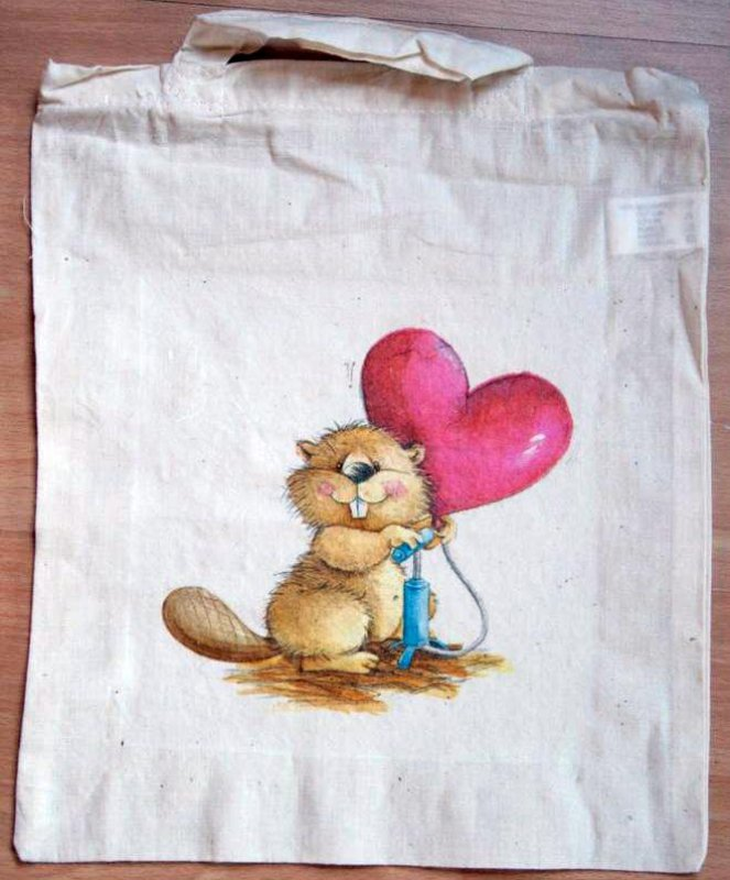 romantic cotton bag beaver with hear