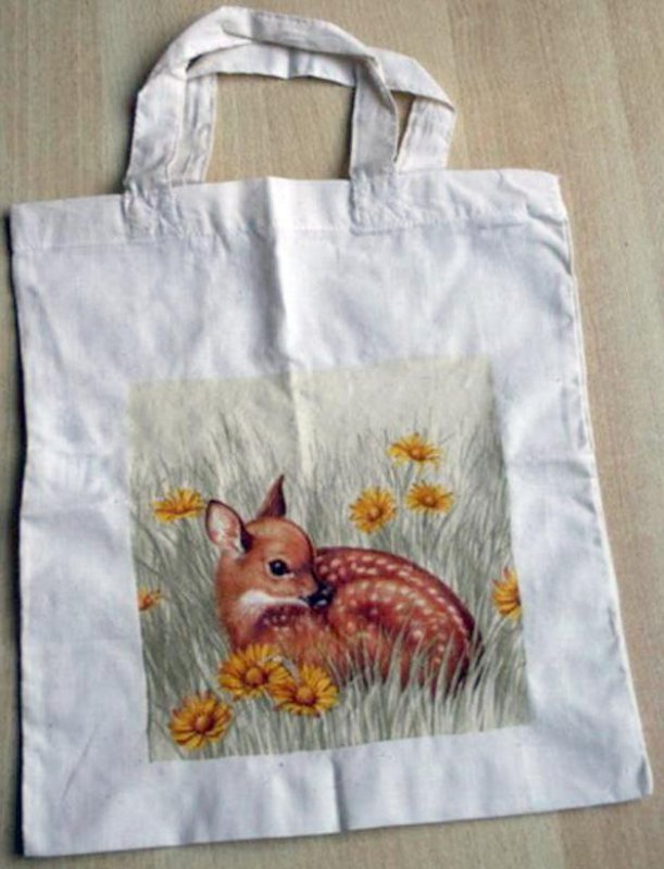 cute cotton bag fawn within yellow flowers