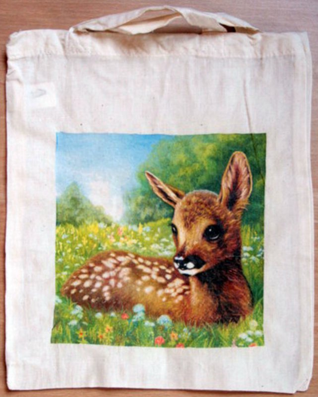 cute cotton bag fawn in medow