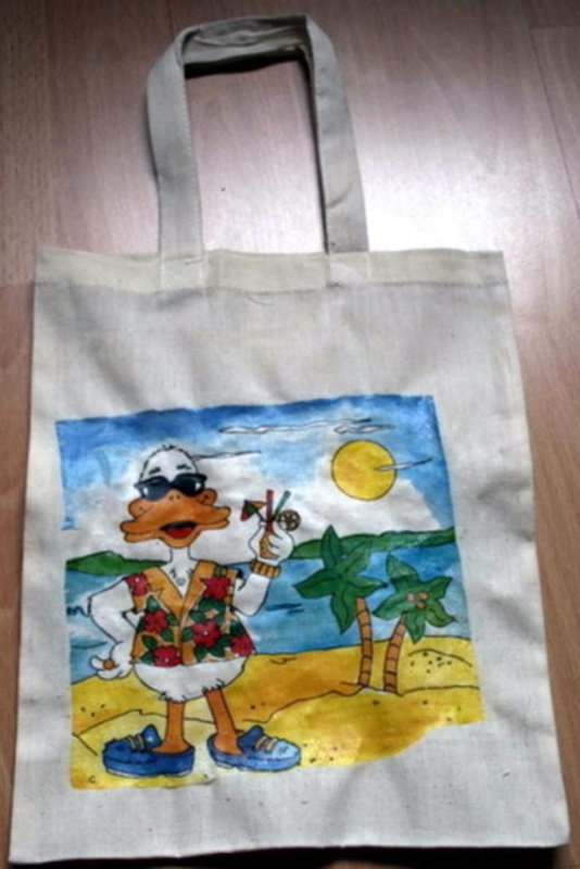 small cotton bag funny relaxing duck