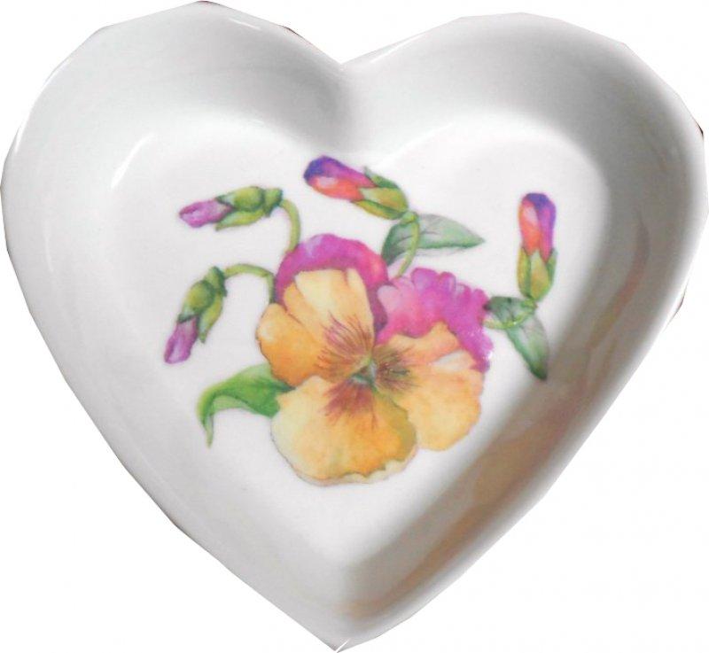 hübsche Herz Porzellanschale Stiefmütterchen
